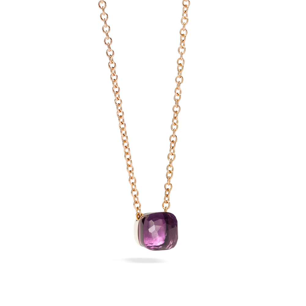 LLATO PENDANT WITH AMETHYST AND CHAIN IN ROSE GOLD