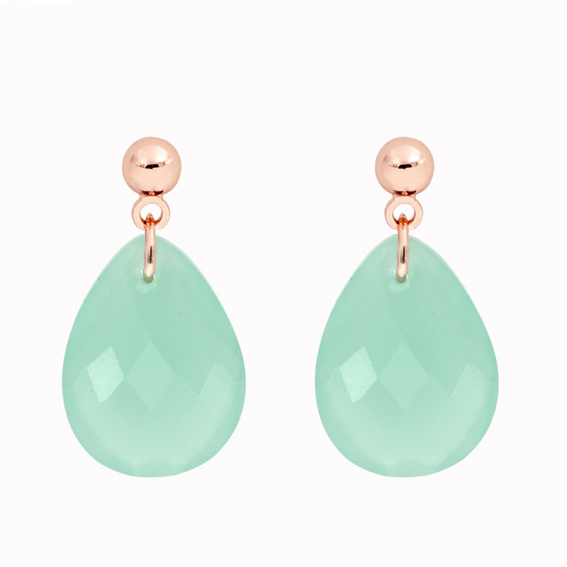 BelloParis Earrings Rose Gold Vermeil on Sterling Silver with  Amazonite