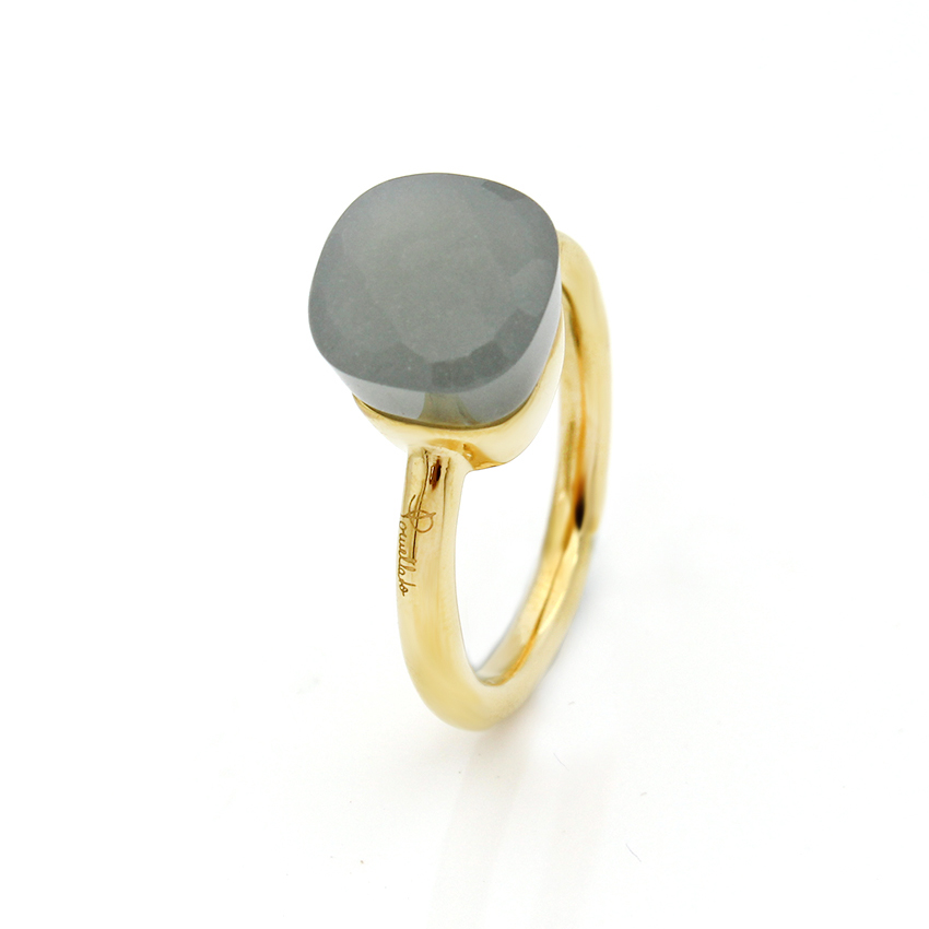 NUDO IMITATION RING IN 18k GOLD WITH GREY QUARTZ