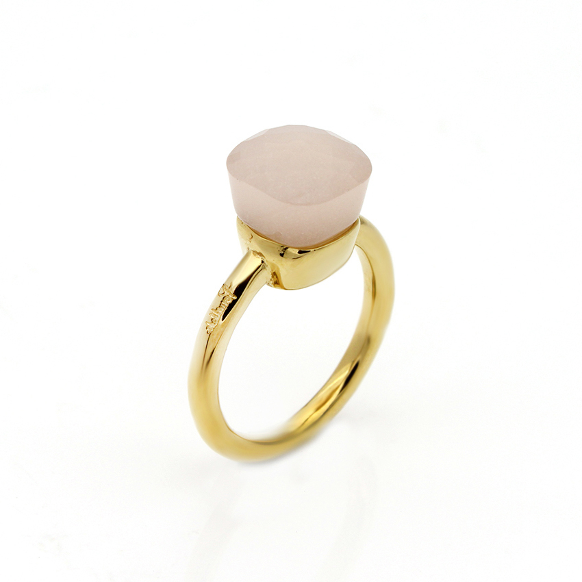 NUDO RING IN 18K GOLD WITH PINK QUARTZ