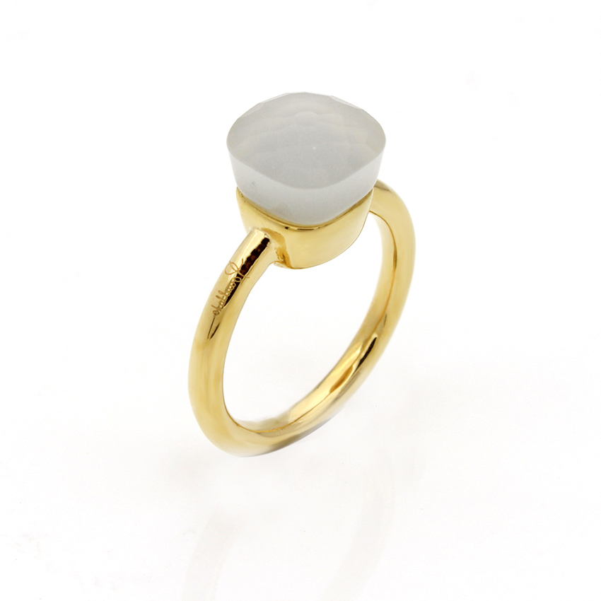 NUDO RING IN 18K GOLD WITH WHITE JADE