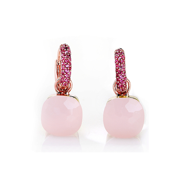 NUDO EARRINGS IN ROSE GOLD WITH PINK QUARTZ AND ZIRCON