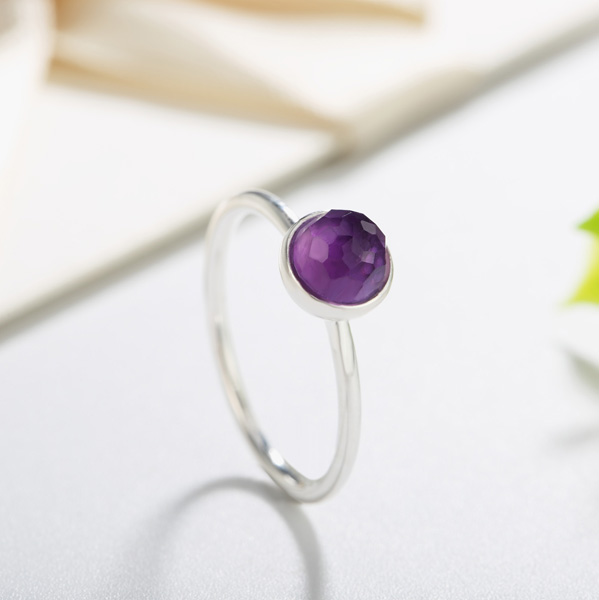Inspired Ring in 925 Sterling silver With MINI Amethyst Quartz