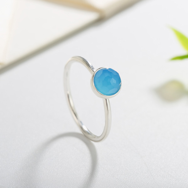 Inspired Ring in 925 Sterling silver With MINI Sky Blue Quartz